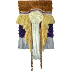"""1960's Fiber Art Tapestry by Romeo Reyna, USA. Richly textured hand woven surface in earthtones with purple accents. Reyna was Californis weaver and his work was included in several """"California Design' shows at the Pasadena Art Museum."""