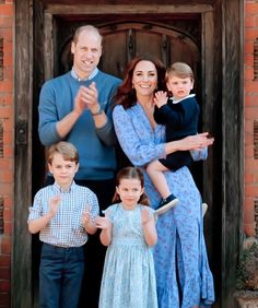 """ The Duke and Duchess of Cambridge with their three children Prince George, Princess Charlotte and Prince Louis at their home Anmer Hall, Norfolk join in the UK's"