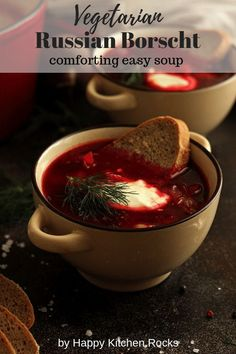 This easy one-pot vegetarian Russian Borscht recipe only takes 30 minutes to make! Delicious and wholesome winter soup full of nutrients! What is Borscht? Borscht is one of the most popular classic dishes of Slavic One Pot Vegetarian, Vegetarian Recipes Dinner, Vegan Soups, Real Food Recipes, Soup Recipes, Blender Recipes, Sweet Recipes, Russian Borscht Soup, Salads