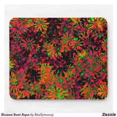 Blumen Bunt Aqua Mousepad Aqua, Designs, Bunt, Pot Holders, Welcome Home, Empty Wall, Business Cards, Postcards, Artworks