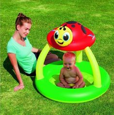 Baby Infant Inflatable Swimming Paddling Pool With Shade Tent Fun Play Lady Bug in Garden & Patio, Swimming Pools & Hot Tubs, Other Swimming Pool & Hot Tub | eBay