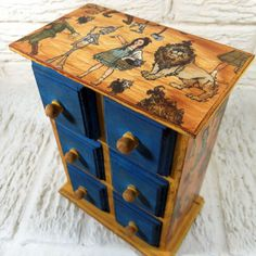 Wizard Of Oz Vintage Style Blue And Yellow Brick Road Chest Of Drawers Trinket…