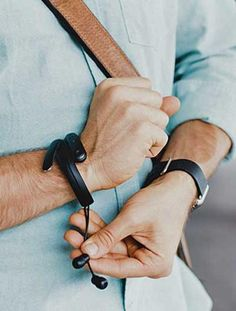 The Helix are a pair of wireless Bluetooth earbuds that come with a flexible, FitBit-like bracelet to house the device when not in use