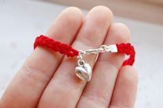Valentine red Braided Heart Charm Bracelet. £7,00, via Etsy.