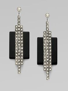 CA Veronika black onyx and Swarovski crystal earrings. At only $360.00, a wonderful example of the Art Deco trend. At Saks Fifth Avenue.