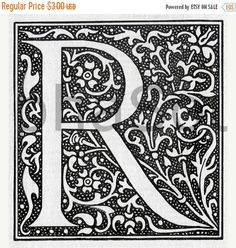 On Sale French Letter R Illuminated Lettering Ornate Very Hi Res 600 DPI Image Download