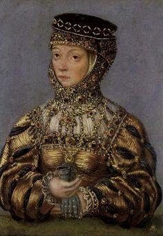 LUCAS CRANACH (1472 - 1553) - Portrait of Barbara Radziwill. National Museum, Kraków. Barbara Radziwill (1520-1551), daughter of Jerzy Radziwill and his wife Barbara Kola, She was married first to Stanislovas Gostautas and second to Zygmunt II August Jagiellon. She had no children.