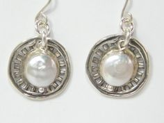 Ladies Design Handcraft White Pearl Cultured Pearl Sterling Silver 925 Earrings