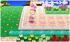 Girly lacy edged brick path  http://kitty22.blog.fc2.com/blog-category-9.html