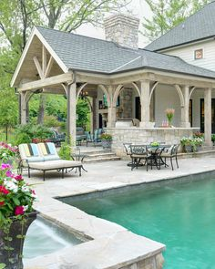 Gorgeous pool, stone work and patio. Kitchen idea with pergola above (attached to patio) Pool house by Mitchell Wall Architecture Perfection! Outside Living, Outdoor Living Areas, Outdoor Rooms, Outdoor Kitchens, Outdoor Cooking, Living Spaces, Outdoor Entertaining, Living Rooms, Back Patio