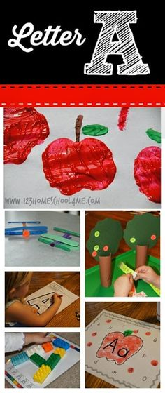 Letter A - This is such a fun Letter of the Week unit for kids to learn about the alphabet! Includes fun ways for kids to practice making the letter, sorting upper/lower case, and a is for airplane and a is for apples stuff too. Perfect for toddler, preschool, prek, and kindergarten unit in september for back to school!!