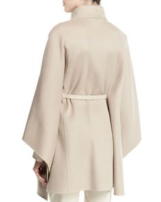 W05Z5 Loro Piana Vendome Belted Cashmere Cape, Gold Pepper