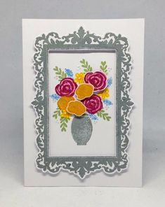 Card created using Masterpiece Duo Stamp Set - Ornate Frame & Landscape Artist with Painted Florals Stamp set, made by Julie Hickey www.craftworkcards.com