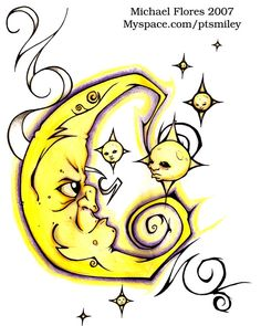 Moon and Stars by GlowingGnome.deviantart.com on @deviantART
