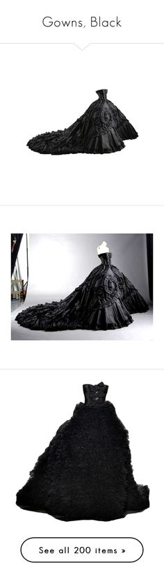 """""""Gowns, Black"""" by sheri-gifford-pauline ❤ liked on Polyvore featuring dresses, gowns, long dress, vestidos, long dresses, giambattista valli, couture evening gowns, couture dresses, couture ball gowns and giambattista valli gown"""