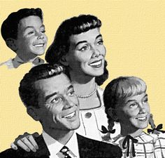 Creepy smiling family -- with the body-less boy in the back. Family Comes First, Nuclear Family, Vintage Housewife, Vintage Ads, Vintage Food, Poster Ads, Googie, Good Good Father, Retro Art