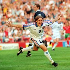 Karel Poborsky of Czech Rep celebrates his winner against Portugal at Euro '96.