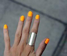Neon Nails - Florescent, Hot Orange, Silver, Ring, Accessories