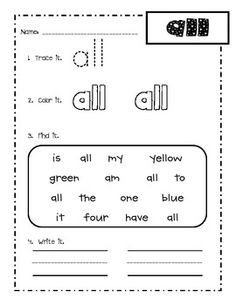 The sight word this week is