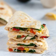 Is there anything more perfect than a quesadilla? Here, plantains join roasted red pepper, vegan cheese, and fresh arugula for a sweet/savory/spicy effect.