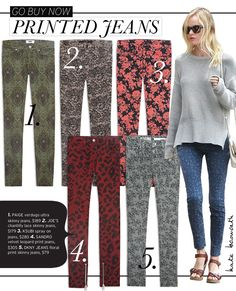 "Joe's Chantilly Lace Skinny in Blush Featured on Who What Wear's ""Go Buy Now: Printed Jeans"" story."