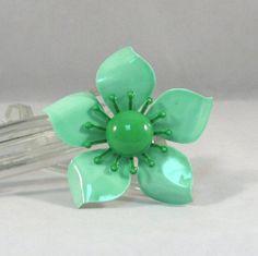 Vintage Fun Green Enameled Flower Brooch by VintageCreekside, $14.00