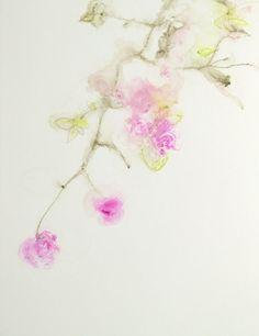 Pink Floral Vine I - 14x11