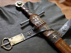 Custom DBK Scabbard work for the Albion Chevalier sword - Closeup of the intregral harness lacing.