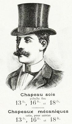 Vintage French ephemera from a man's top hat ad.
