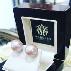 Pink Round Freshwater Pearl Stud Earrings with Yellow Gold back