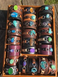 Handmade one of a kind leather cuff bracelet with tiger eye stone keikosbeadbox Diy Leather Bracelet, Leather Earrings, Leather Jewelry, Metal Jewelry, Leather Gifts, Leather Projects, Fabric Jewelry, Leather Accessories, Leather Tooling