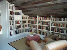 Image result for home library shelving slanted ceiling