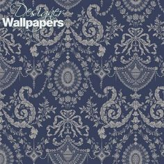 Woolverston is a beautifully delicate small-scale damask taken from an century silk design and adapted for today's screen printing techniques. Warm silver on muted navy. Luxury Wallpaper, Damask Wallpaper, Designer Wallpaper, Wallpaper Patterns, Bathroom Wallpaper, Cs Go Wallpapers, Wallpaper Backgrounds, Watch Wallpaper, Wallpaper Roll