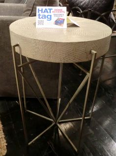 Fish-scale embossed leather wraps the Reese side table from @gabbydecor #HATtag #atlmkt