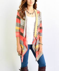 Look at this éloges Coral Stripe Open Cardigan on #zulily today!
