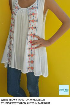 Boho Chic flowy tank top is available at Legacy Boutique located in Studios West Salon Suites - Farragut.  Shop all the latest Boho Chic styles