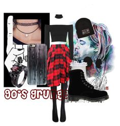 """""""90's Grunge"""" by stellastellahankinson ❤ liked on Polyvore featuring Wolford, D&G, Topshop, River Island, Dr. Martens, Vans and Casetify"""
