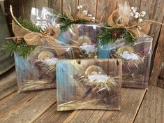 "Excited to share a new item this Season! Fun to pull out my Christmas verses . hard to pick just one. ""A Savior has been born to you, He… Christmas Verses, Cheap Christmas Gifts, Wooden Christmas Ornaments, Christmas Canvas, Christmas Paintings, Christmas Wood, Christmas Signs, Handmade Christmas, Christmas Decorations"