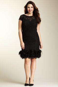 Jessica Simpson  Short Sleeve Feather Lace Dress - Plus Size