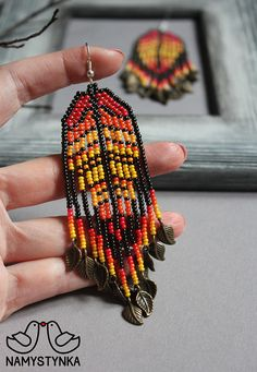 Leaf Orange Long earrings Autumn Chandelier beaded earrings Metal earrings Seed bead earrings Boho e Long Tassel Earrings, Seed Bead Earrings, Fringe Earrings, Boho Earrings, Etsy Earrings, Seed Beads, Aztec Earrings, Beaded Earrings Patterns, Beaded Jewelry
