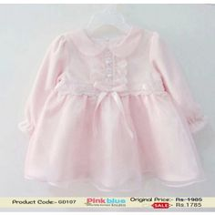 Light Pink Infant Party Dress - Baby Girl Casual Outfit With Ribbons and Laces, Designer Kids Autumn Cotton Clothes, Children Attire by Pinkblueindia
