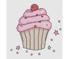 Pink Cupcake Cross Stitch Pattern Instant Download