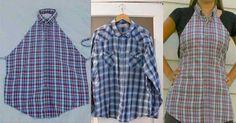 Jeden jednoduchý nápad ako premeniť starú košelu (alebo tričko) na zaujímavú zásteru.