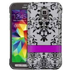 Samsung Galaxy S5 Active Damasks Grey Black Purple Line Slim Case