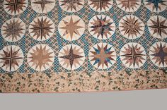 Elaborate Chintz and Cotton Appliqued Mariner s Compass Quilt, Maryland, c1830