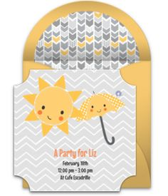 Customizable, free Sunshine online invitations. Easy to personalize and send for a baby shower. #punchbowl