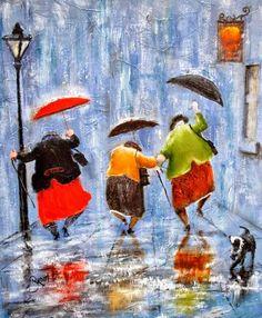 Dancin' in the rain Inge Look Art And Illustration, Friends Illustration, Rain Dance, Dance Art, Umbrella Art, Singing In The Rain, Rainy Days, Rainy Night, Painting & Drawing