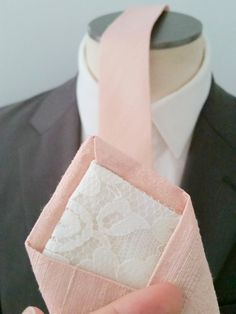 Textured Raw Silk Blush Tie lined with Silk. Handsome&Lace has the best wedding ties for unique people <3