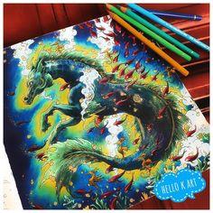 Seepferdchen mal anders #adultcoloringbook #adultcoloring #mythomorphia #kerbyrosanes #polychromos #pencillove
