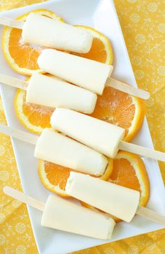 Homemade Orange Creamsicles- 1 cup orange juice (fresh or frozen), 1 cup heavy cream ( I use thick coconut milk), 3 TSP honey, 1/4 tsp orange extract, 1/2 tsp vanilla extract Whisk all ingredients together. Pour mixture into popsicle moulds. Freeze for 4-6 hours or until frozen.